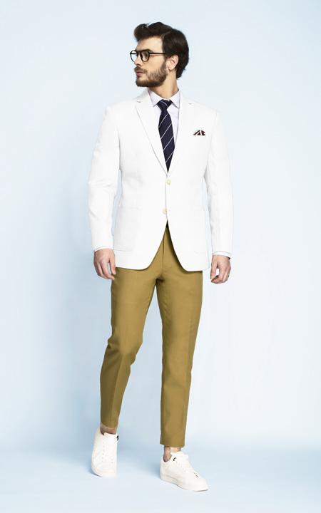 Napoli White Cotton Blazer