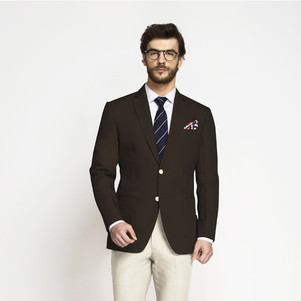 Army Green Khaki Cotton Blazer-mbview-1