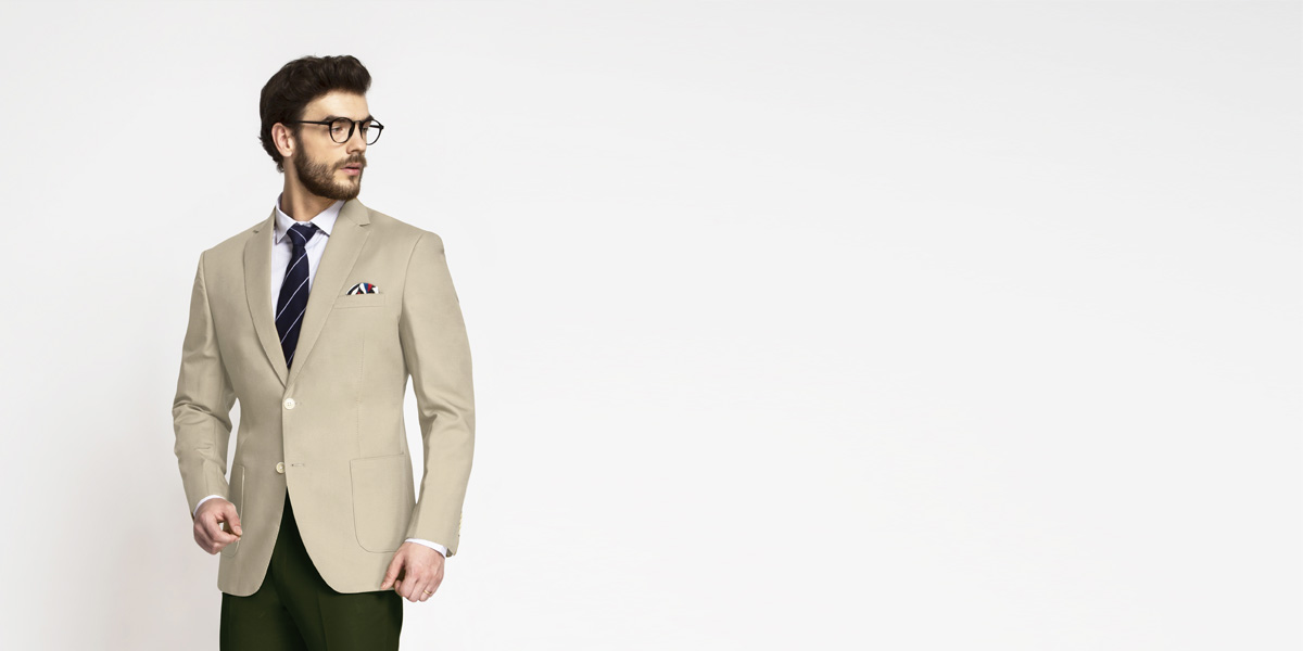 Sand Brown Khaki Cotton Blazer- view-1
