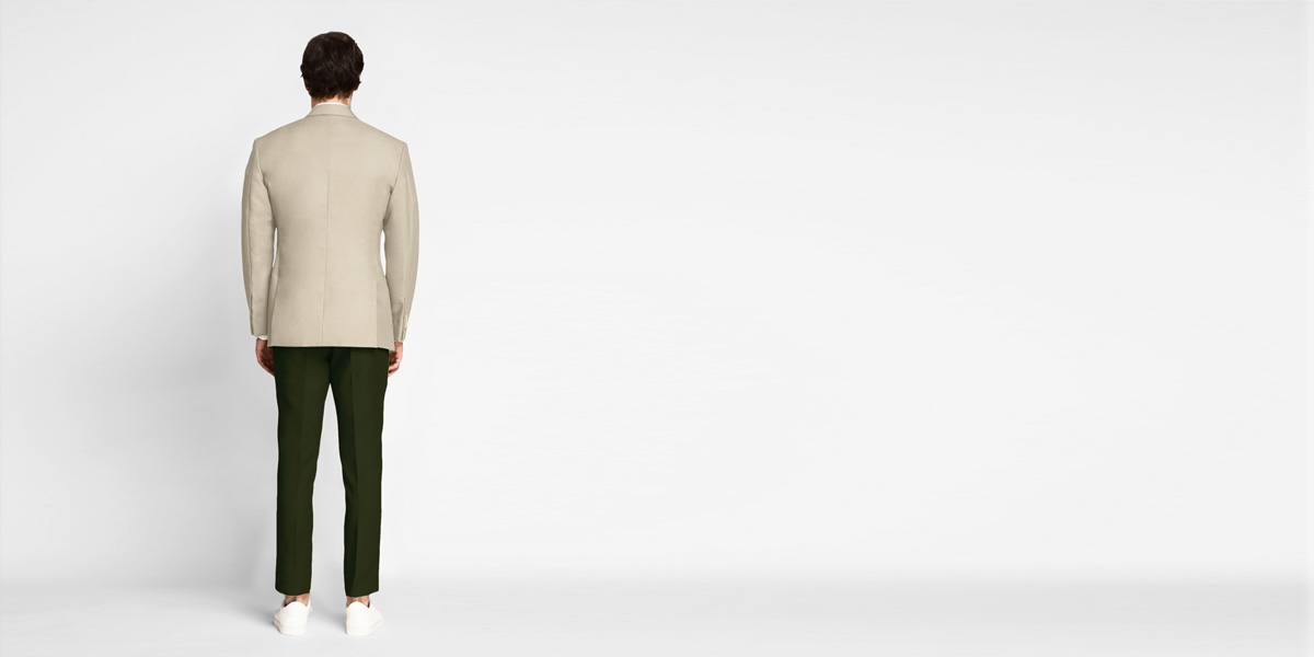 Sand Brown Khaki Cotton Blazer- view-2