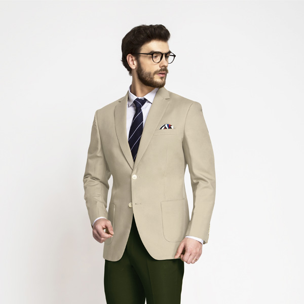 Sand Brown Khaki Cotton Blazer-mbview-1