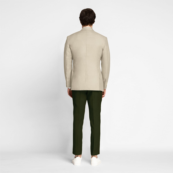 Sand Brown Khaki Cotton Blazer-mbview-2