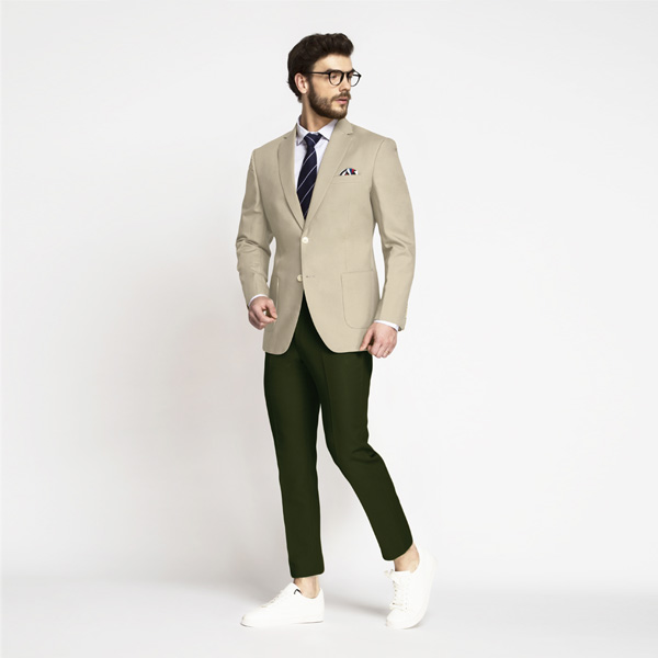 Sand Brown Khaki Cotton Blazer-mbview-3