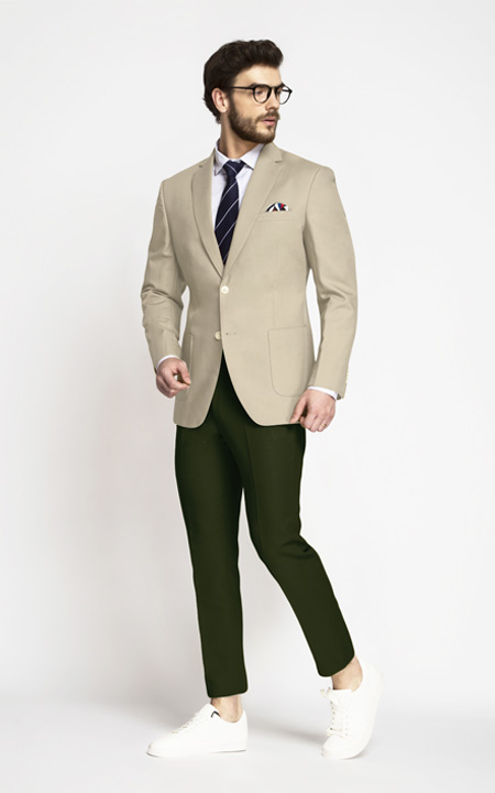 Sand Brown Khaki Cotton Blazer