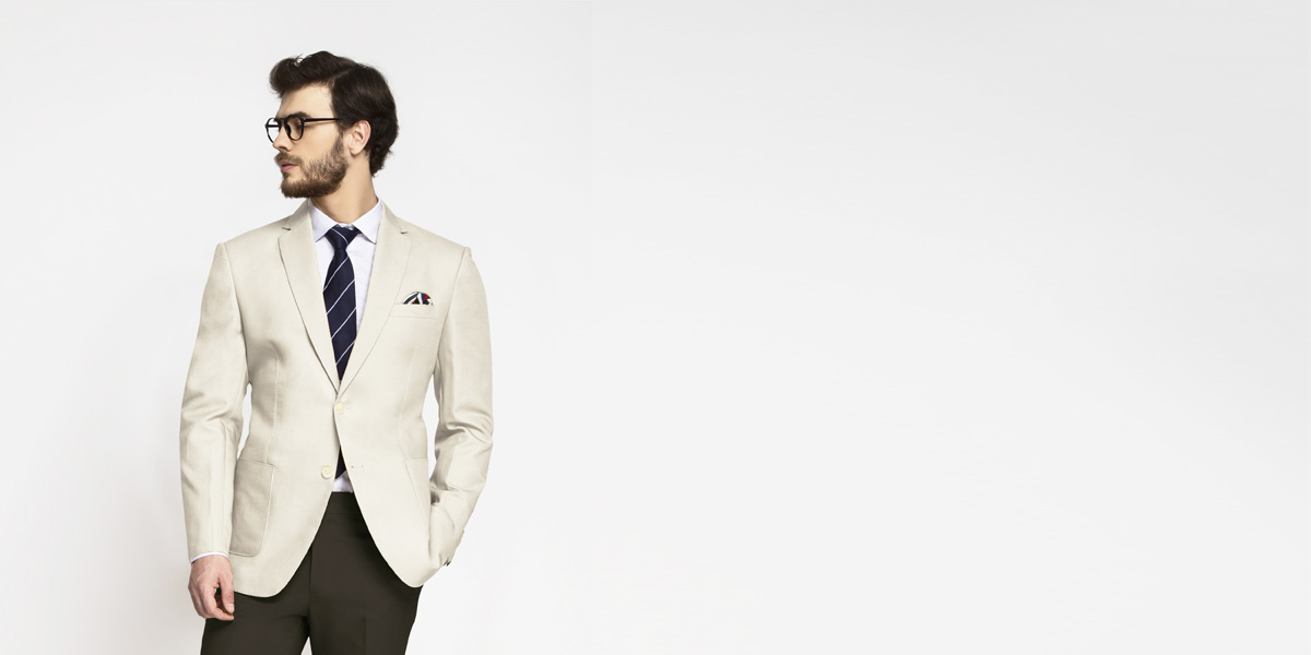 Beige Derby Cotton Blazer- view-1