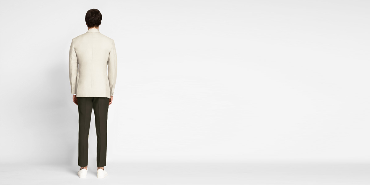 Beige Derby Cotton Blazer- view-2