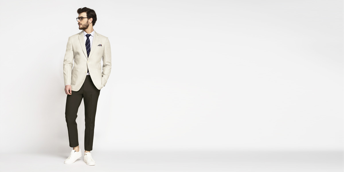 Beige Derby Cotton Blazer- view-3