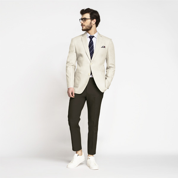 Beige Derby Cotton Blazer-mbview-1