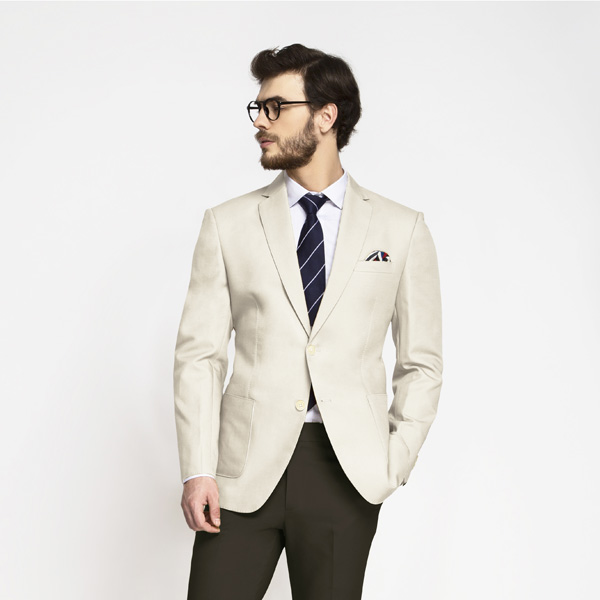 Beige Derby Cotton Blazer-mbview-3
