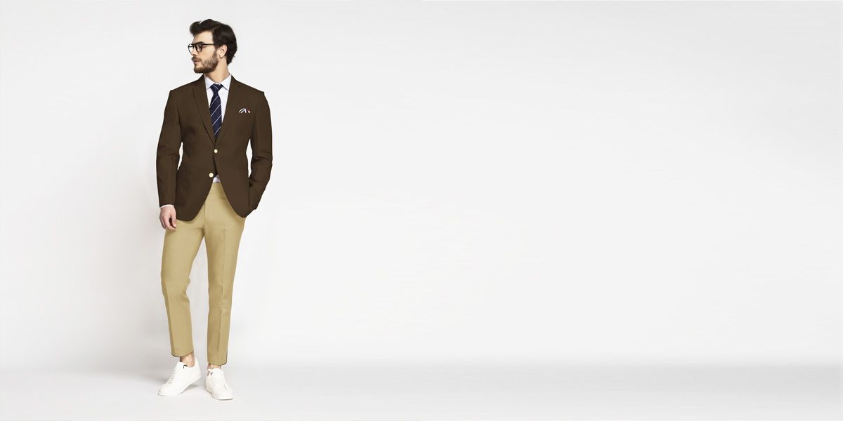 Classic Brown Cotton Blazer- view-3