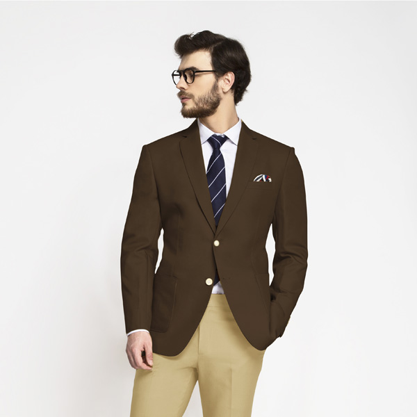 Classic Brown Cotton Blazer-mbview-1