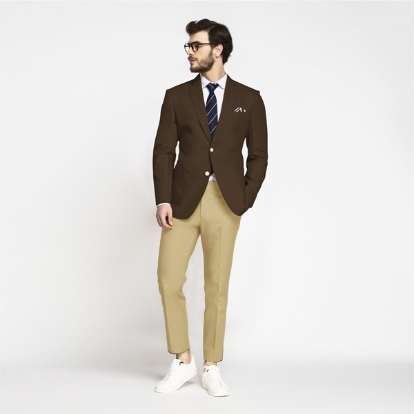 Classic Brown Cotton Blazer-mbview-3