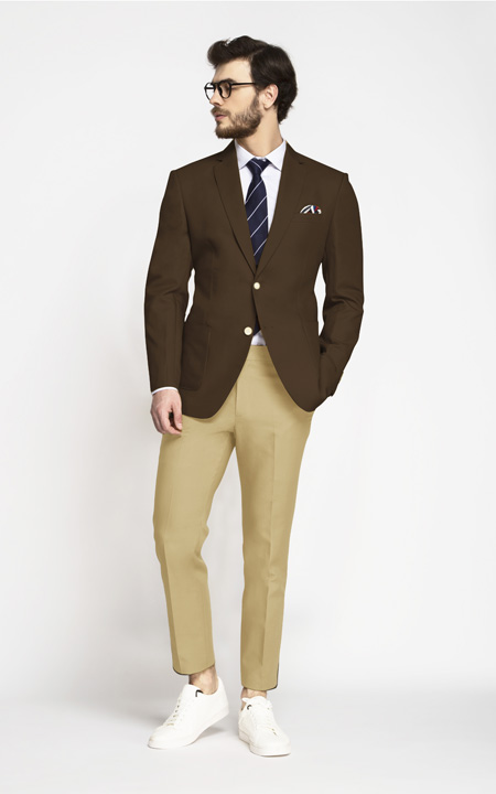 Classic Brown Cotton Blazer