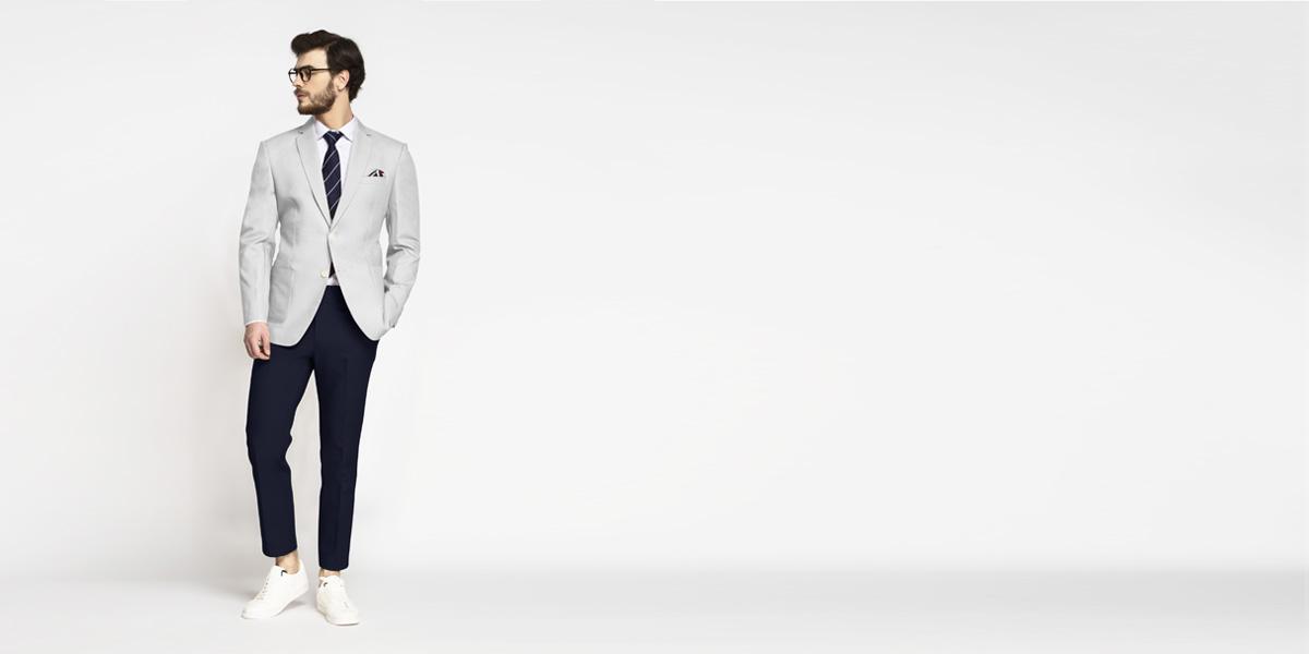 Slate Grey Cotton Blazer- view-3