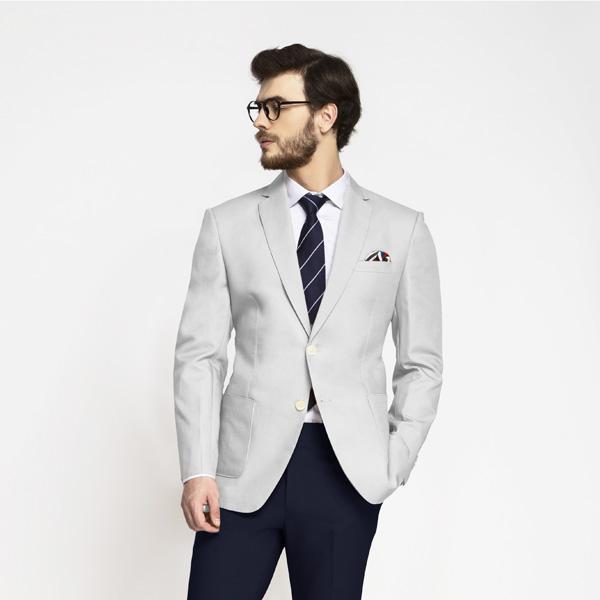 Slate Grey Cotton Blazer-mbview-1