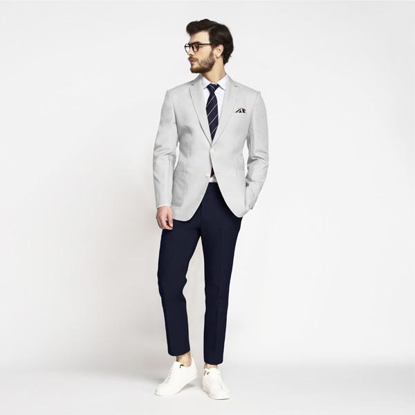Slate Grey Cotton Blazer-mbview-3