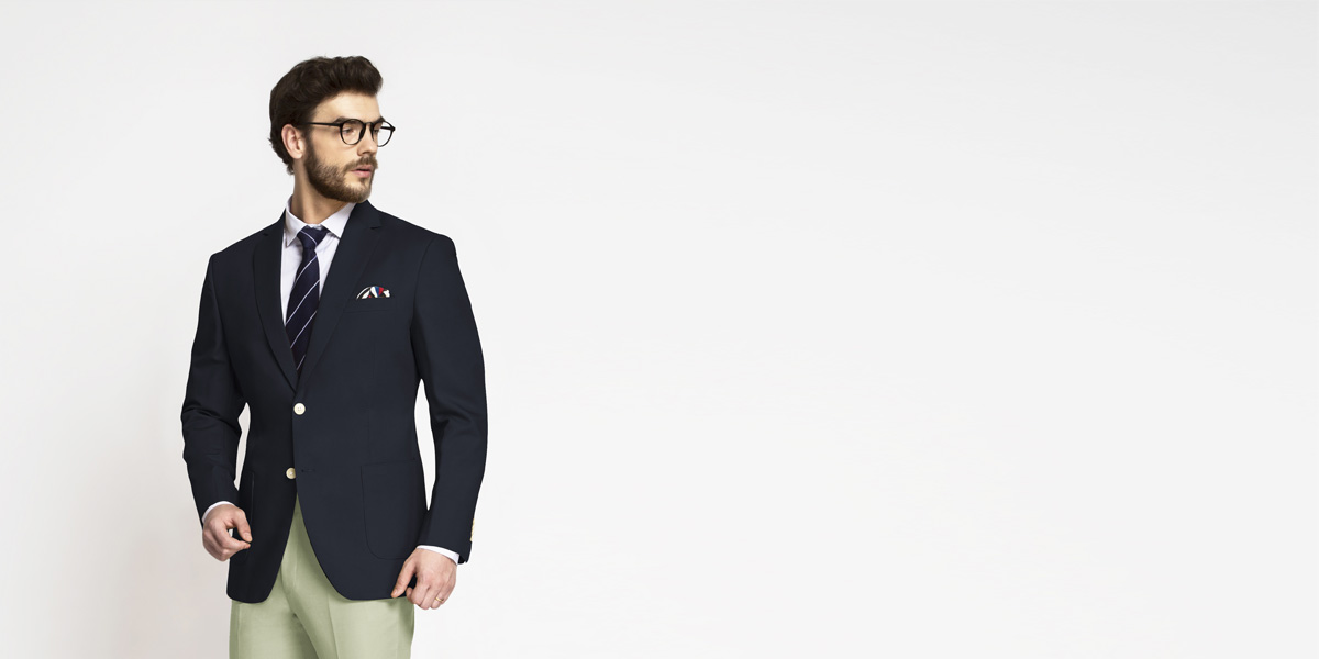 Prussian Blue Cotton Blazer- view-1