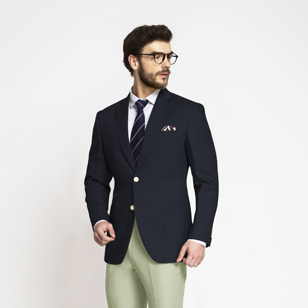 Prussian Blue Cotton Blazer-mbview-1