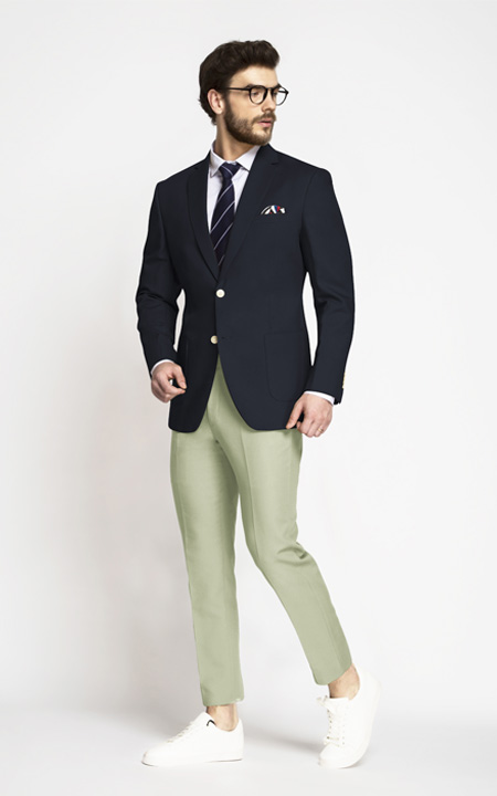 Prussian Blue Cotton Blazer