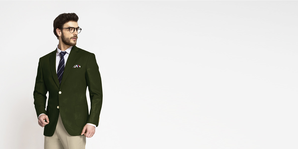 Olive Green Cotton Blazer- view-1