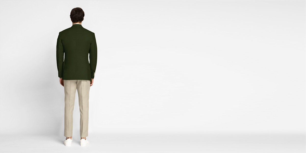 Olive Green Cotton Blazer- view-2