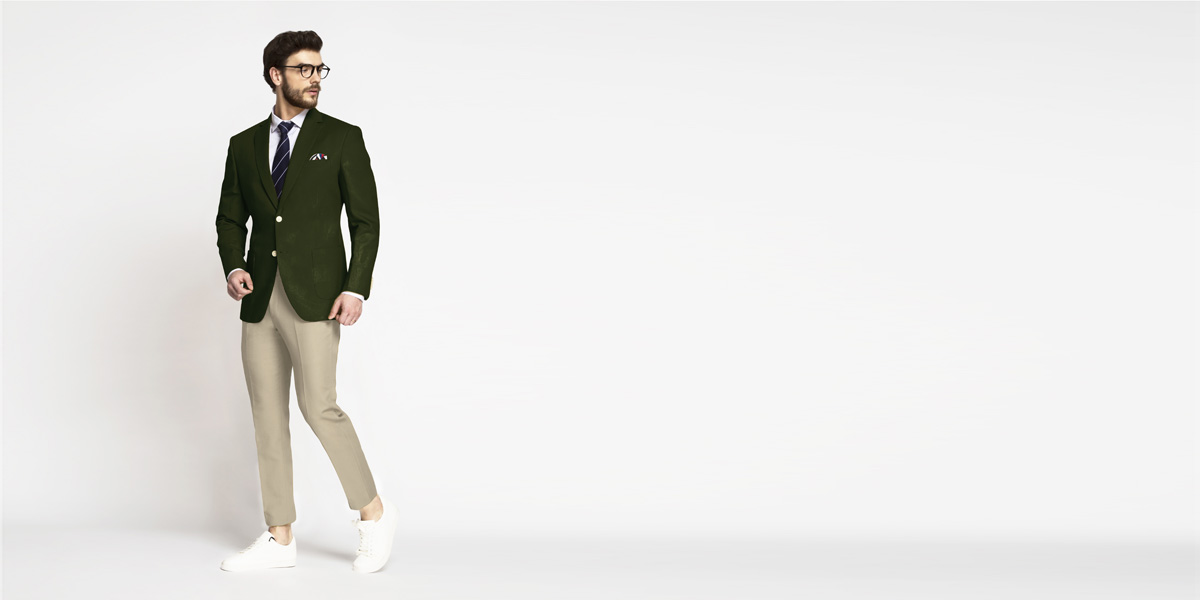 Olive Green Cotton Blazer- view-3