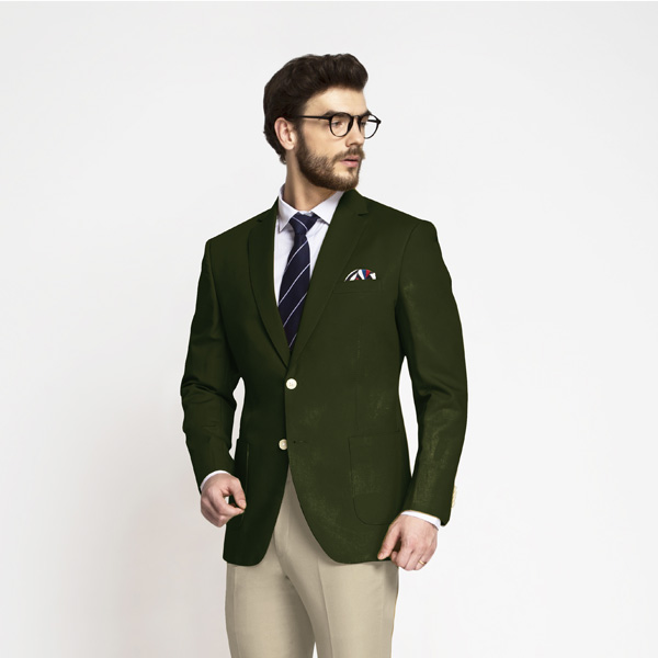 Olive Green Cotton Blazer-mbview-1