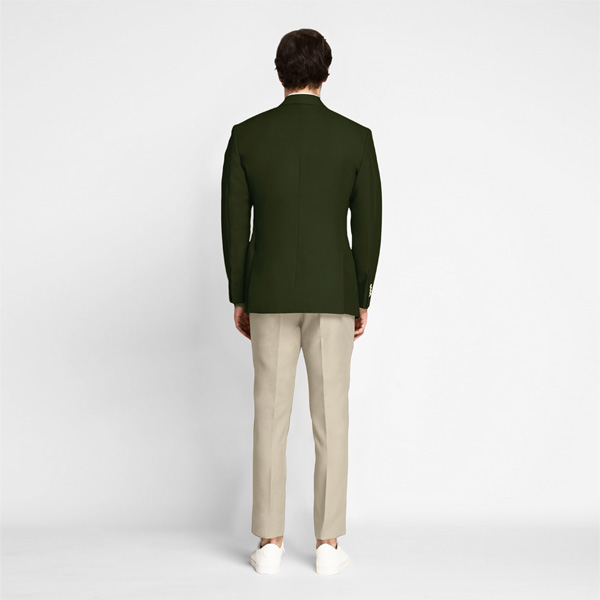 Olive Green Cotton Blazer-mbview-2