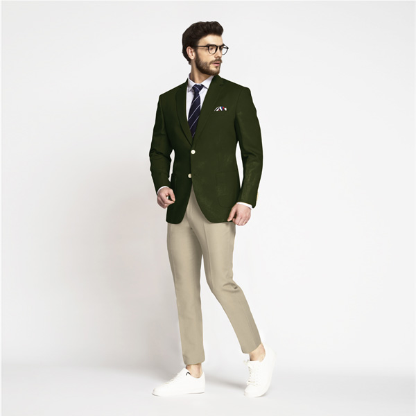 Olive Green Cotton Blazer-mbview-3