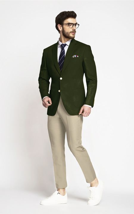 Olive Green Cotton Blazer