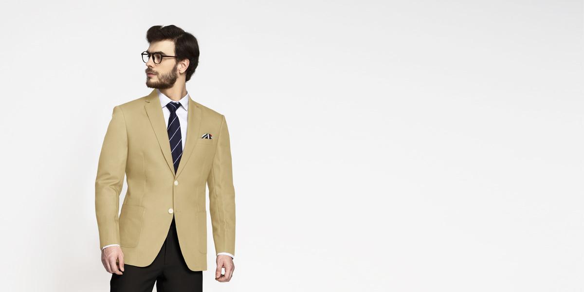 Khaki Brown Cotton Blazer- view-1