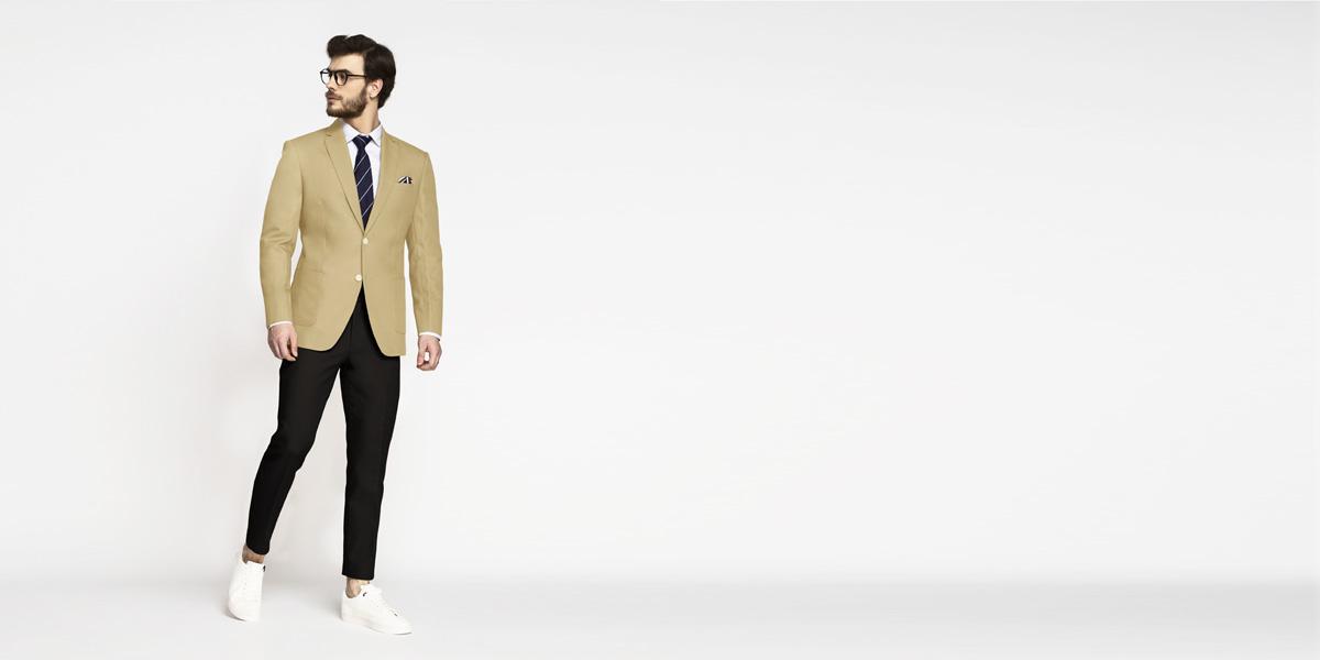 Khaki Brown Cotton Blazer- view-3
