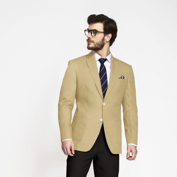 Khaki Brown Cotton Blazer-mbview-1