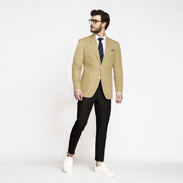 Khaki Brown Cotton Blazer-mbview-3