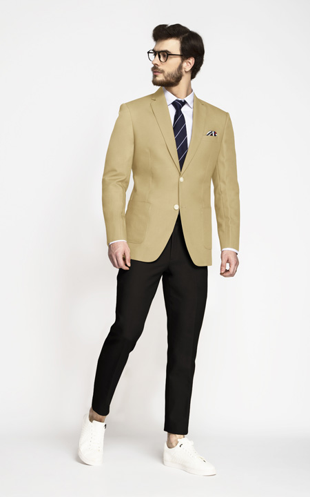 Khaki Brown Cotton Blazer