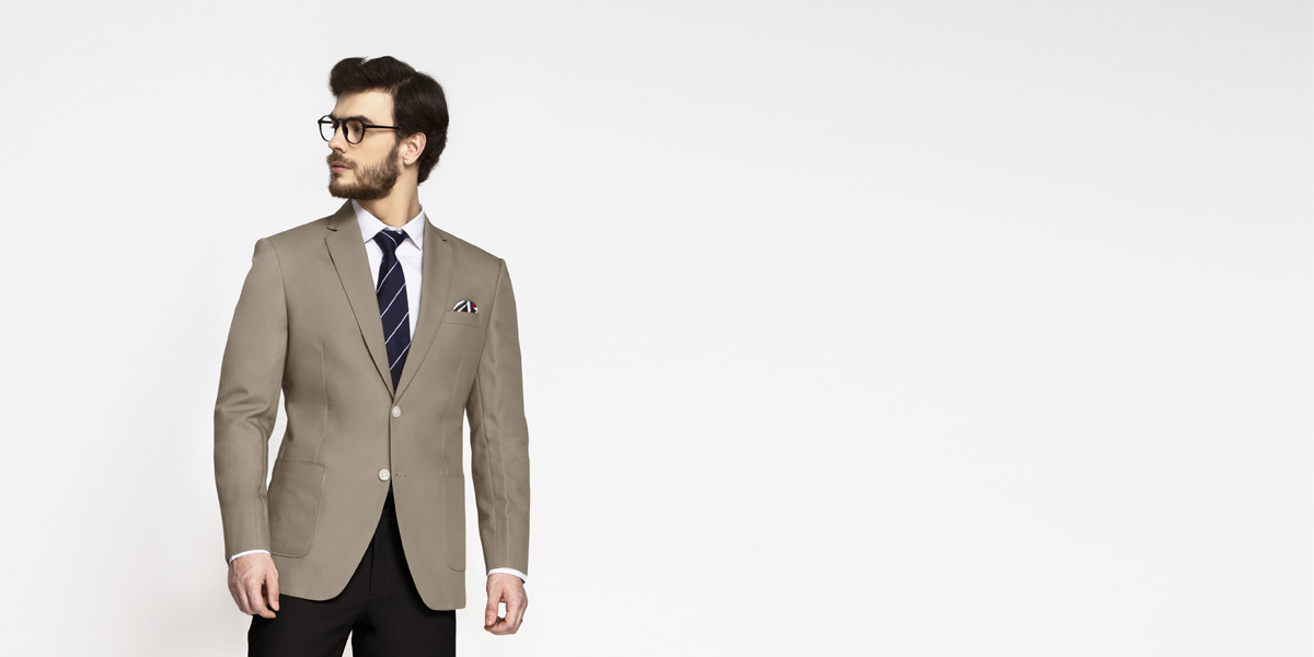 Pebble Brown Khaki Cotton Blazer- view-1