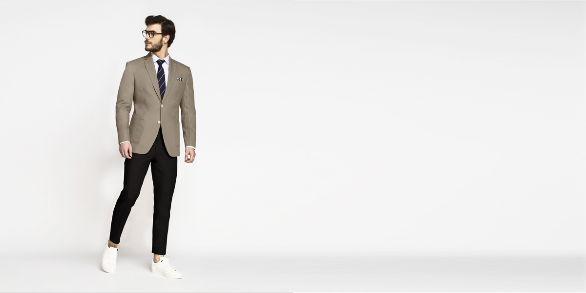 Pebble Brown Khaki Cotton Blazer- view-3