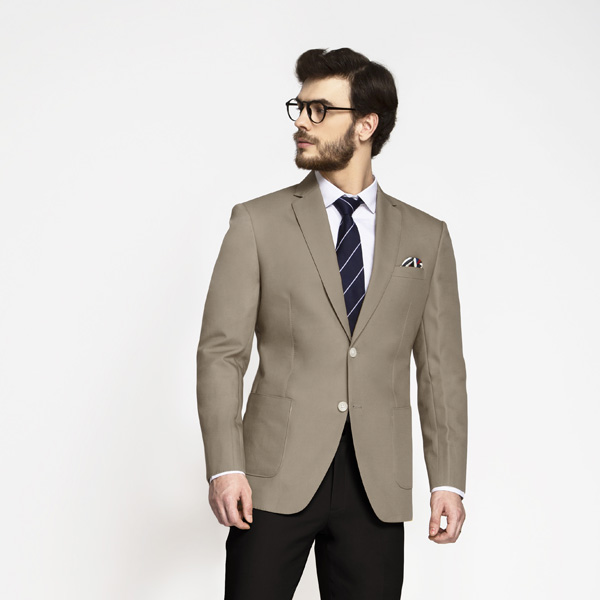 Pebble Brown Khaki Cotton Blazer-mbview-1