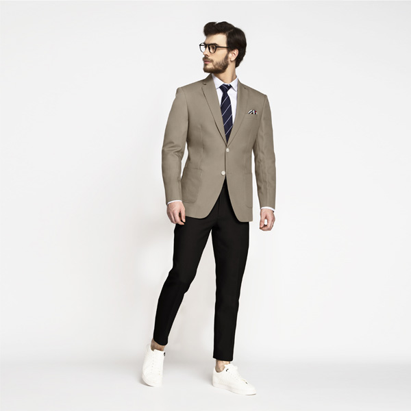 Pebble Brown Khaki Cotton Blazer-mbview-3