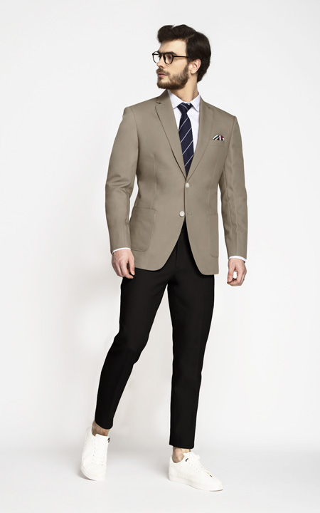 Pebble Brown Khaki Cotton Blazer