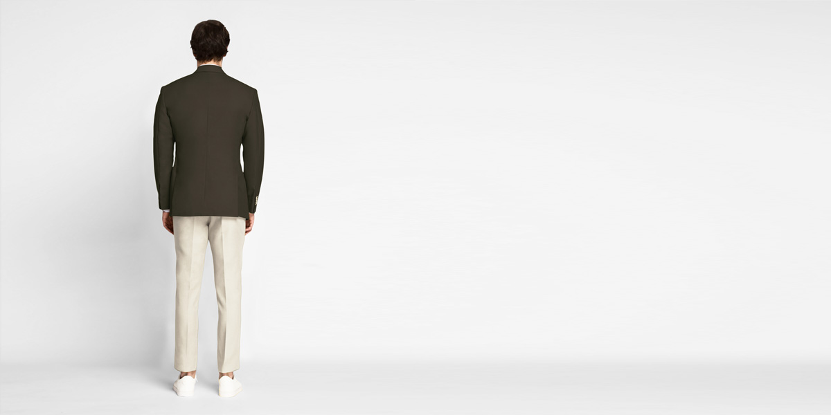 Taupe Green Khaki Cotton Blazer- view-2