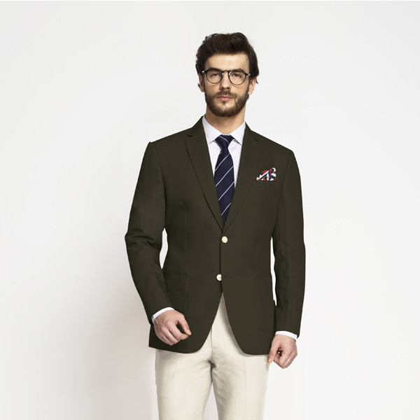 Taupe Green Khaki Cotton Blazer-mbview-1