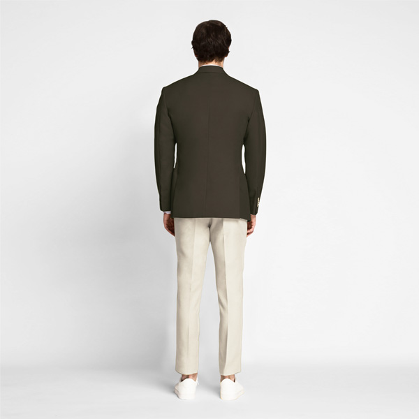Taupe Green Khaki Cotton Blazer-mbview-2