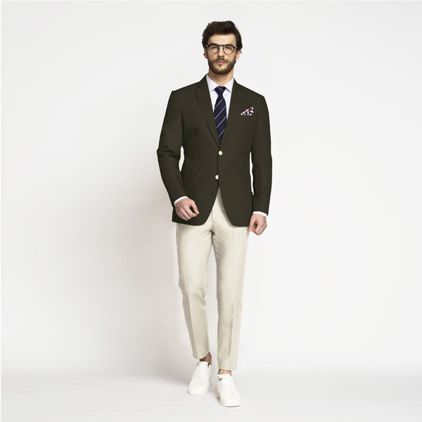 Taupe Green Khaki Cotton Blazer-mbview-3