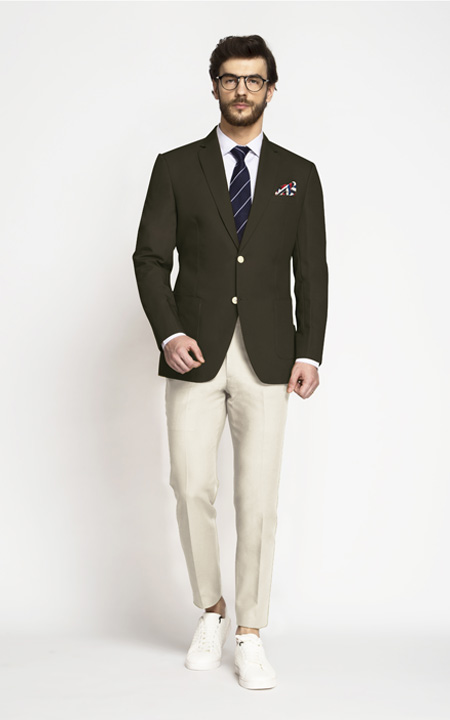 Taupe Green Khaki Cotton Blazer