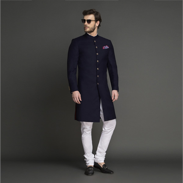 Classic Navy Blue Achkan-mbview-1