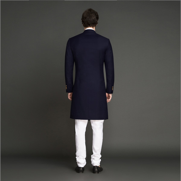 Classic Navy Blue Achkan-mbview-2