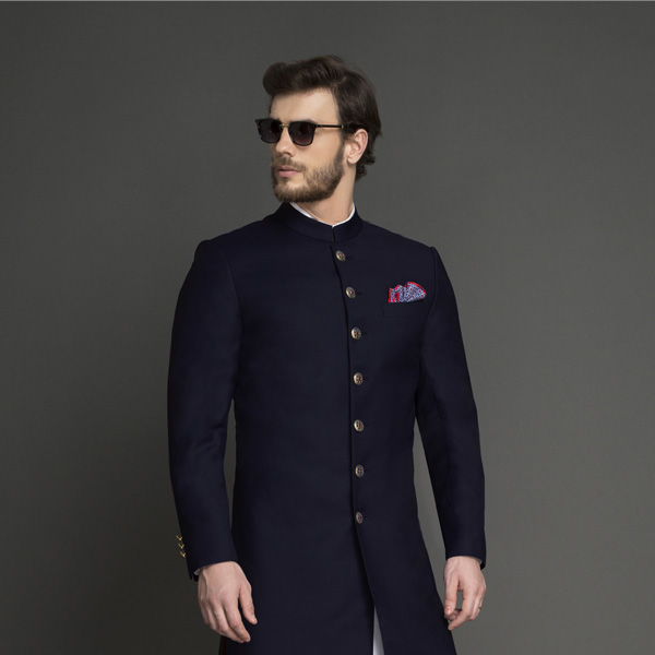 Classic Navy Blue Achkan-mbview-3