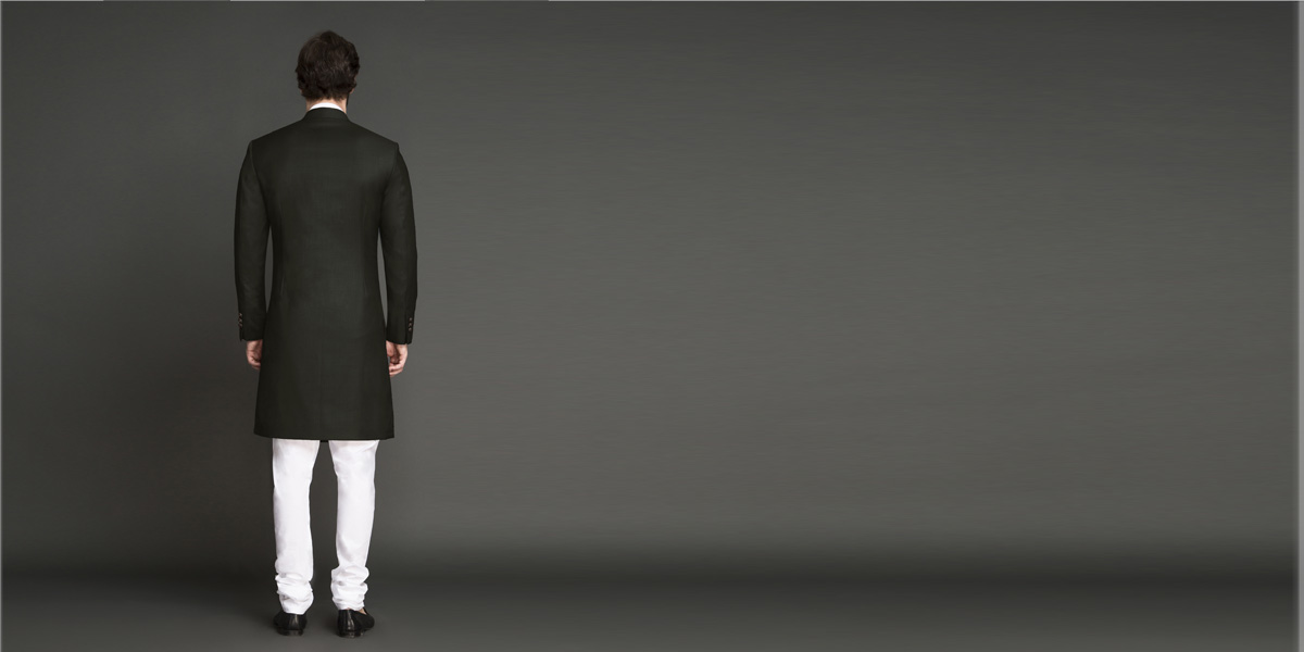 Olive Green Achkan- view-2