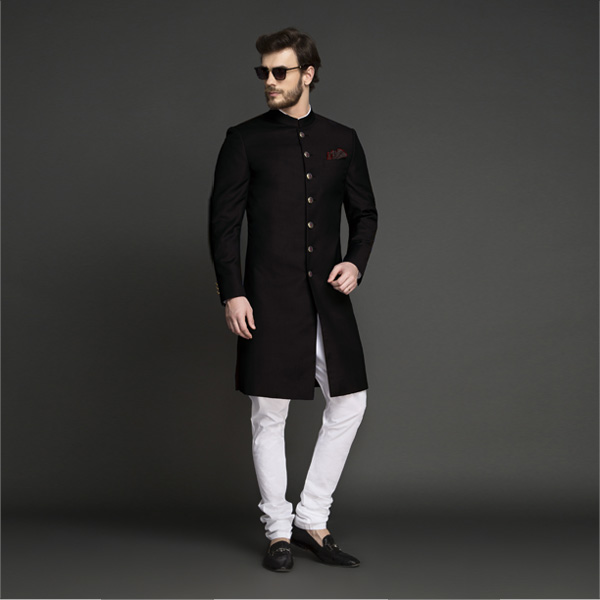 Classic Solid Black Achkan-mbview-1